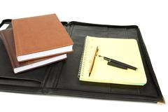 Folder and organizers with  pen Stock Photos