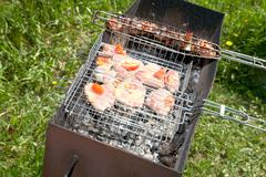 Meat on a grill in  spring afternoon Stock Photos