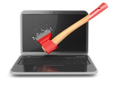 Laptop damaged by axe isolated on white background. concept of anger when wor Stock Illustration