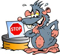 Hand-drawn vector illustration of  an scared rat standing in front  of sewer Stock Illustration