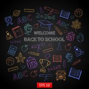Scrap set Back to school on blackboard Stock Illustration