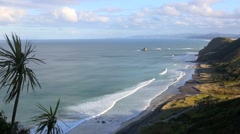 Trees blowing in wind over the Mangawhai coastline Stock Footage