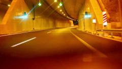 Car fast in tunnel with hd stock video Stock Footage