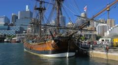 Wooden Tall Ship, Darling Harbor, Sydney 4k Stock Footage