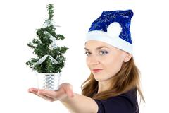 woman with small christmas spruce - stock photo
