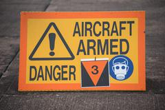 aircraft armed sign - stock photo