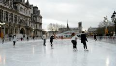 Figure skating near the Hotel de Ville (aka place de Greve) in Paris, France, Stock Footage