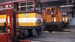 Old trains warehouse - zoom out - 1080p Stock Footage