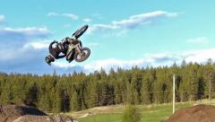 FMX Backflip 360 successfully landed. Stock Footage