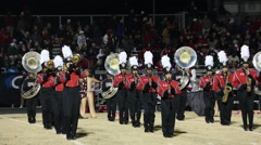 Marching Band in Formation at HS Football Game Halftime Program Stock Footage