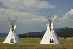 Native American Teepee on grass in front of wooded hills Kuvituskuvat