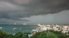 Storm clouds and rain over Pattaya Thailand, time lapse 4k 4096x2304. Stock Footage