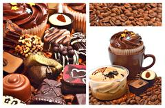 chocolate sweets, muffins and coffee beans - stock photo