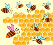 beehive and honeycomb - stock illustration
