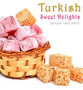 turkish sweet delights in icing sugar in the basket isolated on white - stock illustration
