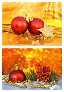 Christmas postcard on sparkling background Stock Photos