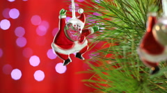 Santa Claus, Christmas ornament, background blurred bokeh Stock Footage