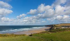 Watergate Bay Cornwall England UK Cornish north coast near Newquay - stock photo