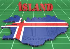 Map illustration of iceland with flag Stock Illustration