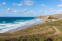 Coastal path Watergate Bay Cornwall England UK Cornish north coast - stock photo