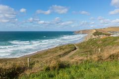 Coast path Watergate Bay Cornwall England UK near Newquay - stock photo