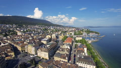 Swiss city aerial - stock footage