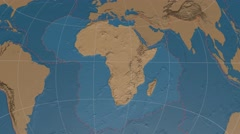 African tectonic plate extruded on disc. elevation & bathymetry, solids. 4k Stock Footage