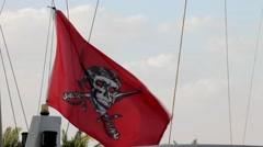 Pirate flag over boat waving in the wind - stock footage