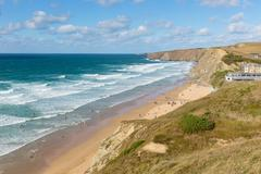 Surfing beach Watergate Bay Cornwall UK near Newquay - stock photo