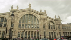 Timelapse of the train station Gare du nord in 4K Ultra high definition Stock Footage