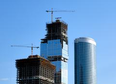 construction of skyscrapers. - stock photo