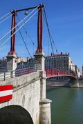 lyon city with red footbridge - stock photo
