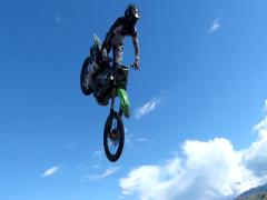 Dusty FMX backflip. Stock Footage
