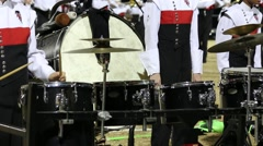 Marching Band Percussionists Wait to Join in on the Song Stock Footage