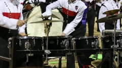 Bass Drum and Cymbals Beat by Marching Band Members Stock Footage