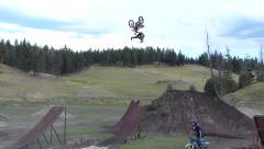 FMX backflip with leg trick. Stock Footage