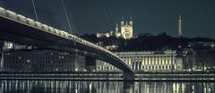 Lyon by night, special photographic processing Stock Photos
