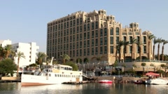 Hotel Hilton. Eilat is Israel's southern city,  busy port  and popular resort Stock Footage