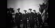 Military Officers walking at port Stock Footage