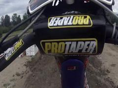 FMX helmet cam backflip trick. Stock Footage