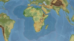 African tectonic plate extruded on disc. elevation & bathymetry, shader. 4k Stock Footage
