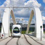 tramway on the bridge - stock photo