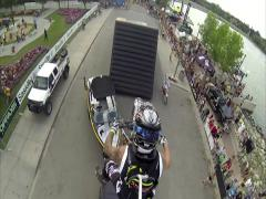FMX jumps with Gopro backpack mount, 2 scenes Stock Footage