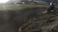 FMX helmet cam view of riders jumping Stock Footage