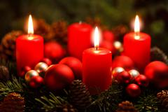 Advent wreath with 3 burning candles Stock Photos