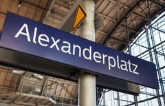 Alexanderplatz subway station sign in berlin Stock Photos