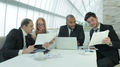 Business meeting with colleagues - stock footage