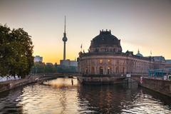 berlin cityscape early in the morning - stock photo