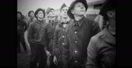 Group of military soldiers watching released war pigeons Stock Footage
