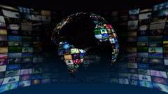 Global News Media Technology Graphics Animation 4K Stock Footage